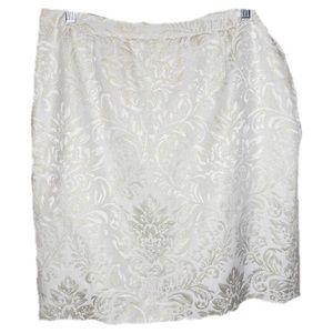 Dresses & Skirts - Pencil Damask Skirt in White & Light Gold Size 14